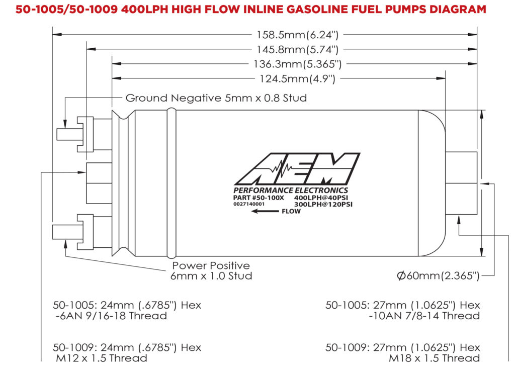 AEM 400LPH Metric Inline High Flow Fuel Pump 6