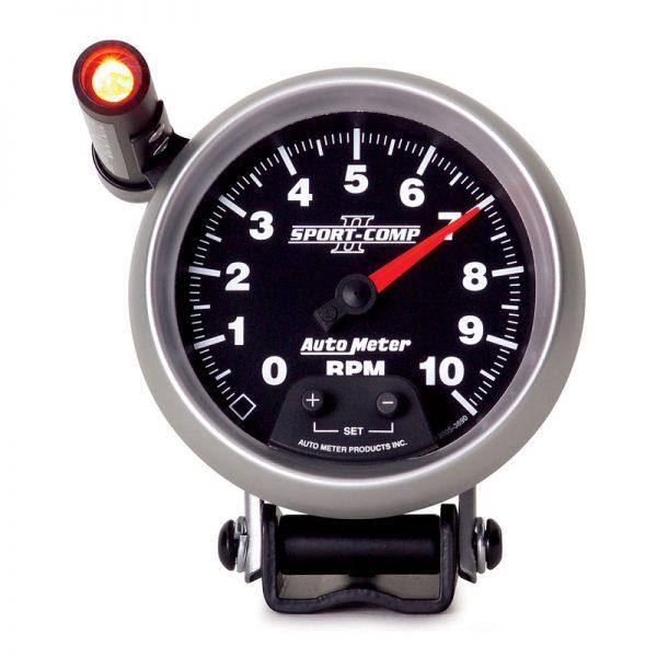 "Autometer Gauge, Tachometer, 3 3/4"", 10K Rpm, Pedestal W/ Ext. Quick-Lite, Sport-Comp Ii"