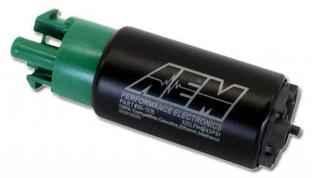 AEM 340lph E85 Compatible High Flow In-Tank Fuel Pump with hooks - Front view